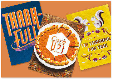 Three Thanksgiving greeting cards with messages of thankfulness