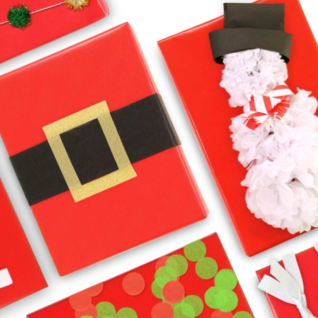 Examples of Christmas gifts wrapped with a Santa Belt, a Snowman, and Confetti ribbons