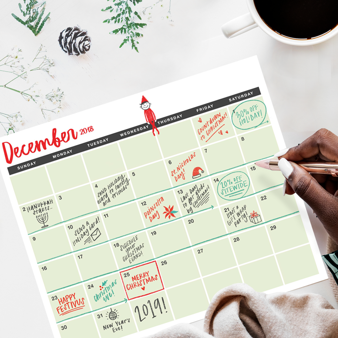 A December Holiday Calendar with important dates written in throughout.