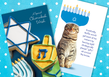 Printable cards with some Hanukkah simbols and a funny cat with a menorah hat.