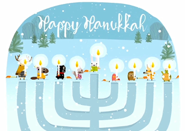 Menorah illustration with woodland animal characters holding each candle