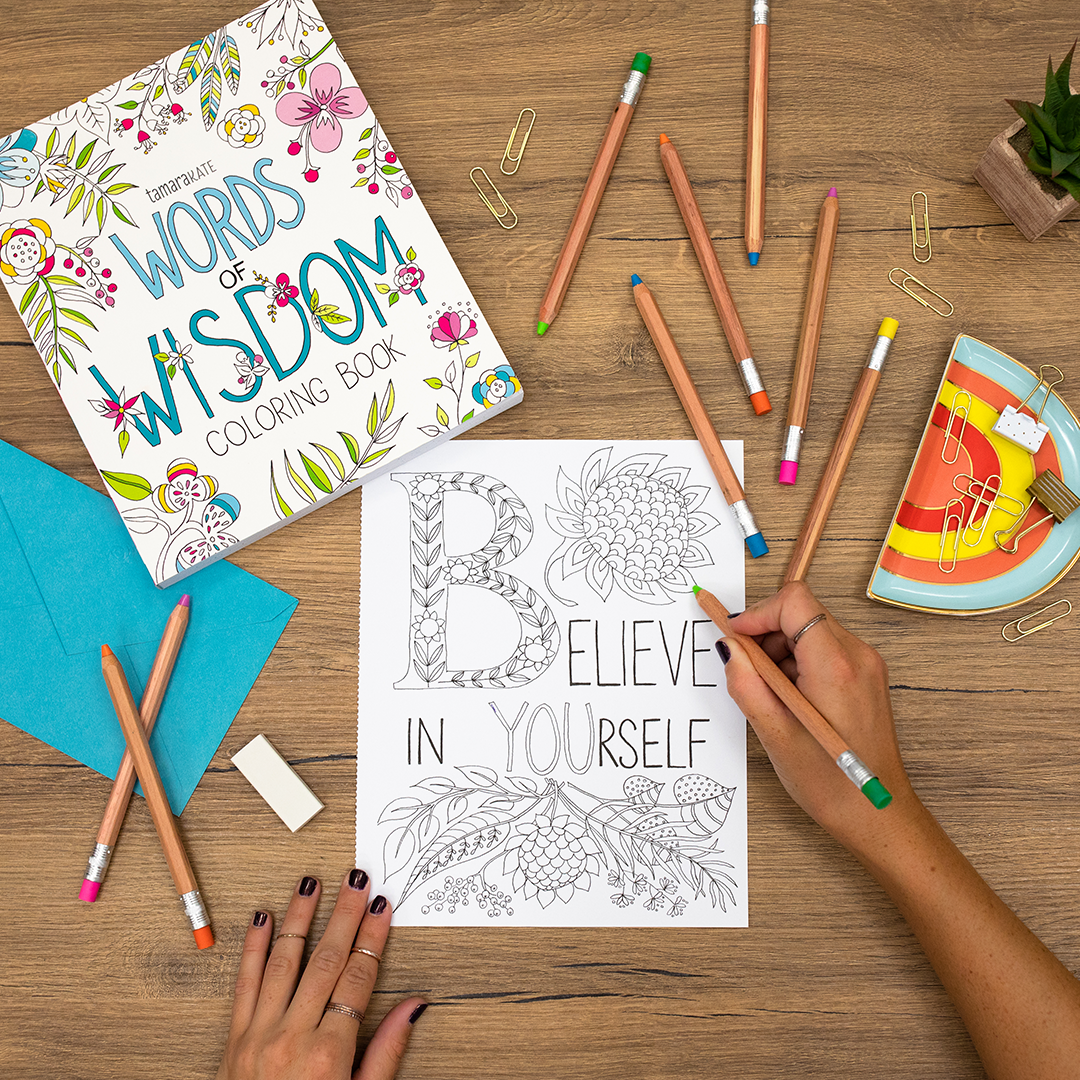 coloring book including pages with fun designs and inspirational words