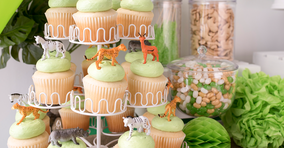 sweets topped with jungle animal toys