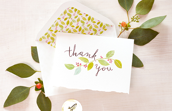 Thank you stationery set featuring foliage and berries