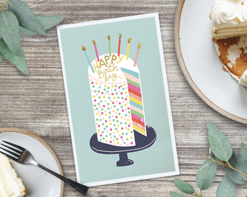 printable card with colorful birthday cake