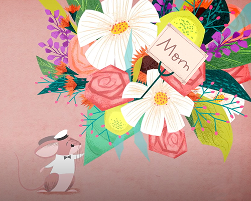 tiny cartoon mouse holding bouquet of flowers addressed to mom