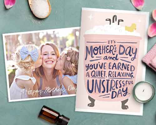 printables mother's day cards surrounded by spa like setting with candles, towel and flower petals