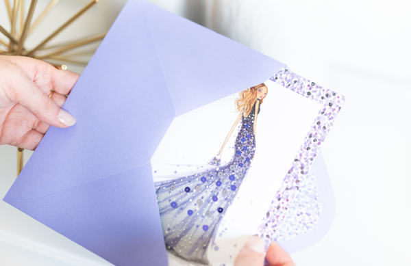 Hands holding a woman in sequin gown greeting card