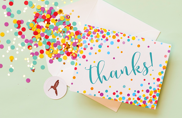 Thank you stationery set with confetti