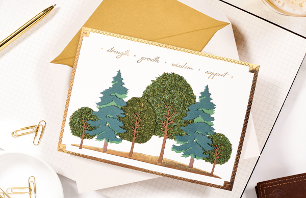 father's day greeting card with trees