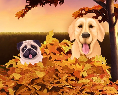dogs in a pile of leaves on a fall day