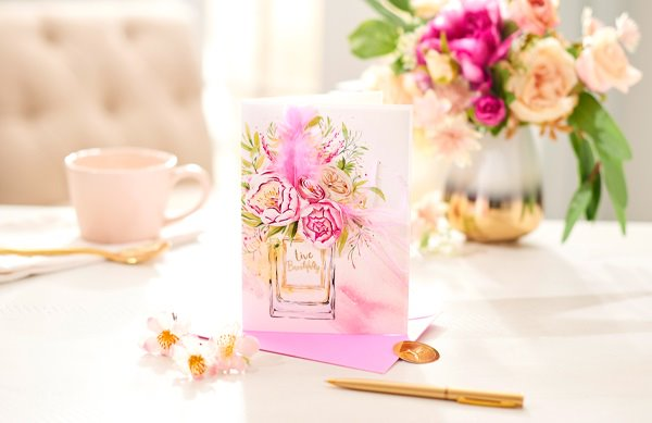 Live Beautifully BCRF Greeting card on gold tray