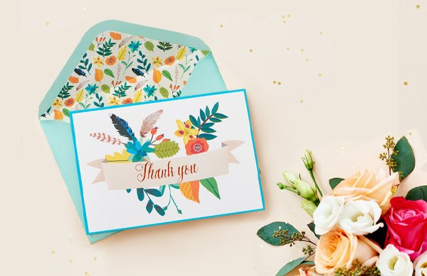 Floral Banner Thank You Stationery